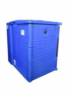 Thermobehälter, doppelt, 12 Einschübe 1/1 GN, Deckel seitlich, blau