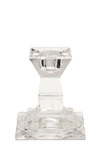 Kerzenständer, Glas, 4- eckig, kurzer Stiel, h: 7,5 cm, (mit Endreinigung)