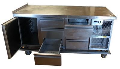 Kühlpult (Ladenstock), 6 Laden u. 1 Tür für max. 1/1 - 100 GN, Edelstahl, 340 W