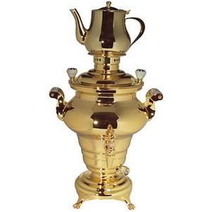 Samowar, (russ. Teekessel), CrNi, vergoldet, 6 lt., 230 V, 1200 W