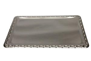 Buffetplatte, CrNi, rechteckig, 64 x 44 cm, mit Decor