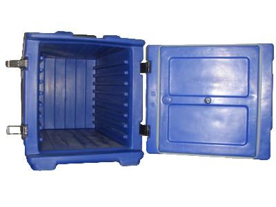 Thermobehälter, einfach, 8 Einschübe 1/1 GN, Deckel seitlich, blau